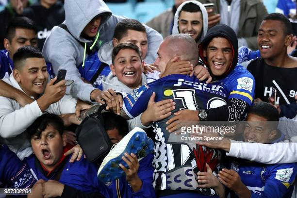 David Klemmer of the Bulldogs celebrates with fans after winning the round 10 NRL match between the Canterbury Bulldogs and the Parramatta Eels at...