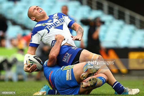 David Klemmer of the Bulldogs is injured in a tackled during the round 14 NRL match between the CanterburyBankstown Bulldogs and the Parramatta Eels...