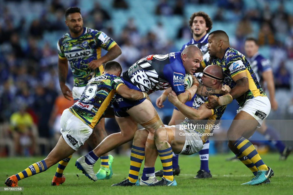 David Klemmer of the Bulldogs is tackled during the round 10 NRL match between the Canterbury Bulldogs and the Parramatta Eels at ANZ Stadium on May 11, 2018 in Sydney, Australia.