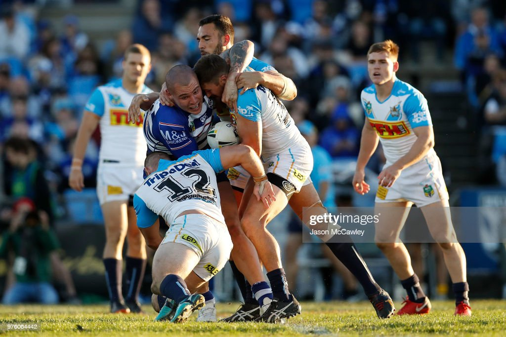 David Klemmer of the Bulldogs is tackled during the round 15 NRL match between the Canterbury Bulldogs and the Gold Coast Titans at Belmore Sports Ground on June 16, 2018 in Sydney, Australia.