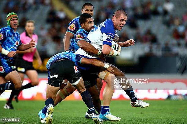 David Klemmer of the Bulldogs is tackled during the round 6 NRL match between the New Zealand Warriors and the CanterburyBankstown Bulldogs at Eden...