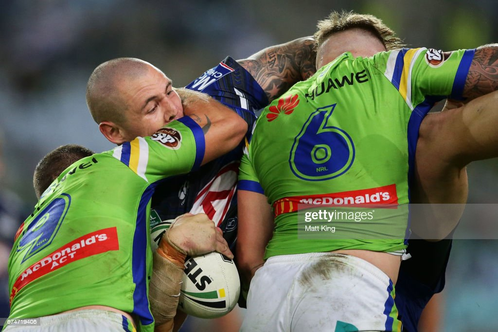 David Klemmer of the Bulldogs is tackled during the round nine NRL match between the Canterbury Bulldogs and the Canberra Raiders at ANZ Stadium on April 29, 2017 in Sydney, Australia.