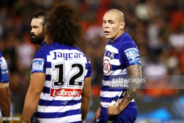 David Klemmer of the Bulldogs looks at Raymond Faitala-Mariner of the Bulldogs during the NRL round eight match between the Penrith Panthers and...