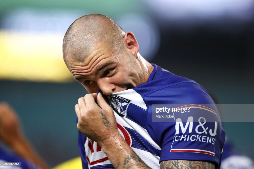 David Klemmer of the Bulldogs looks dejected after a Tigers try during the round 12 NRL match between the Wests Tigers and the Canterbury Bulldogs at ANZ Stadium on May 27, 2018 in Sydney, Australia.