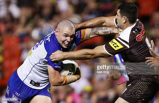 David Klemmer of the Bulldogs takes on the defence during the round two NRL match between the Penrith Panthers and the Canterbury Bulldogs at Pepper...