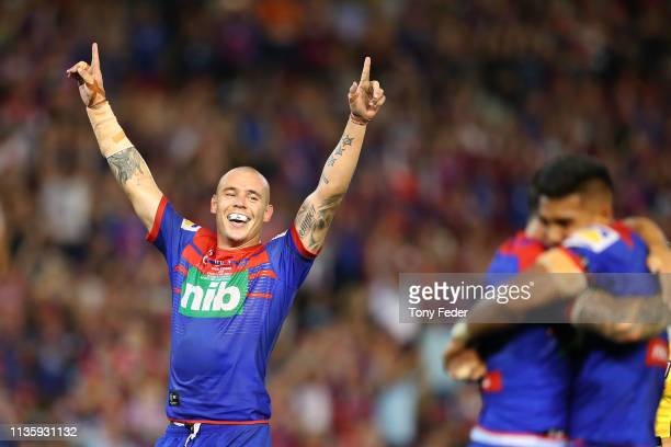 David Klemmer of the Newcastle Knights celebrates the win over the Cronulla Sharks during round one NRL match between the Newcastle Knights and the...