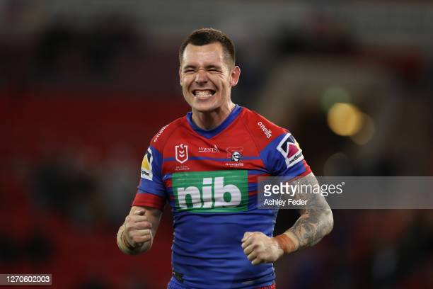 David Klemmer of the Newcastle Knights celebrates the win over the Cronulla Sharks during the round 17 NRL match between the Newcastle Knights and...