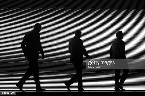 David Klemmer Wade Graham and Jake Trbojevic walk on stage during the New South Wales State of Origin team announcement at The Star on May 22 2017 in...