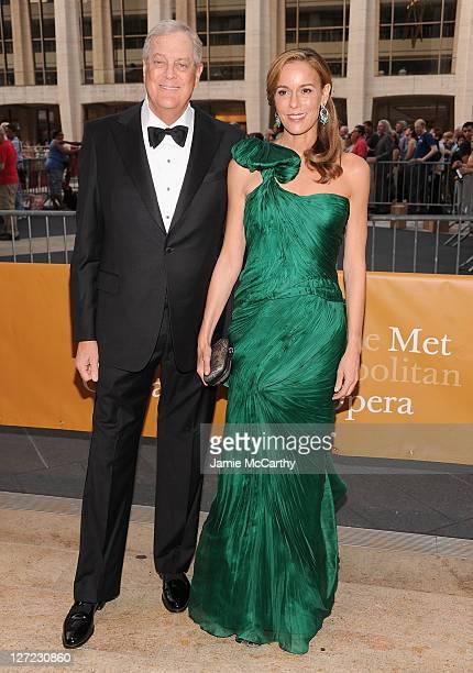 David Koch and Julia Koch attend the 2011 Metropolitan Opera Season opening night performance of Anna Bolena at The Metropolitan Opera House on...