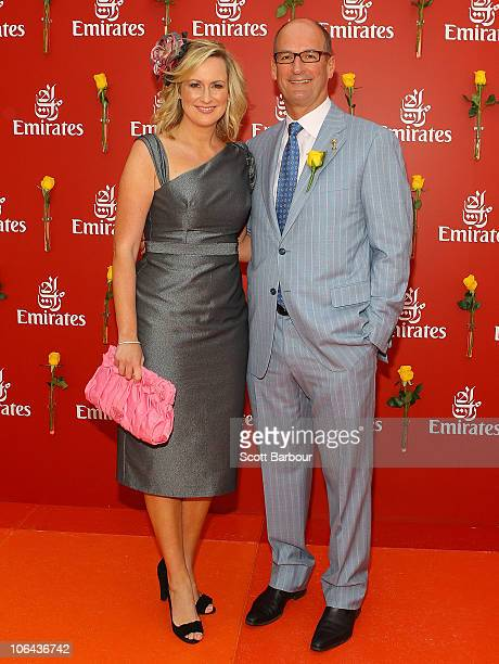 David Koch and Melissa Doyle attend the Emirates marquee during Emirates Melbourne Cup Day at Flemington Racecourse on November 2 2010 in Melbourne...