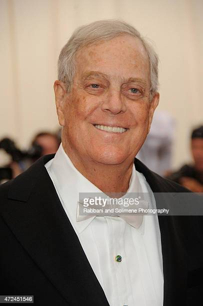 David Koch arrives at China Through The Looking Glass Costume Institute Benefit Gala at the Metropolitan Museum of Art on May 4 2015 in New York City