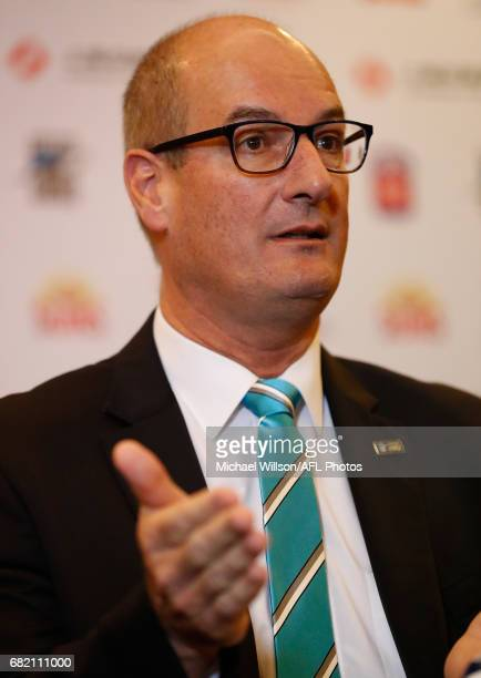 David Koch Chairman of the Power addresses the media during the Port Adelaide Power and Gold Coast Suns joint Chairman and CEO press conference at...