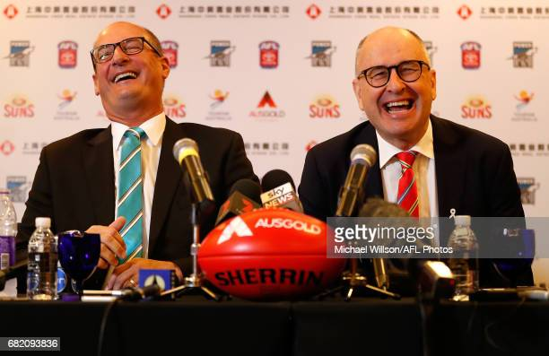 David Koch Chairman of the Power and Tony Cochrane Chairman of the Suns speak with media during the Port Adelaide Power and Gold Coast Suns joint...