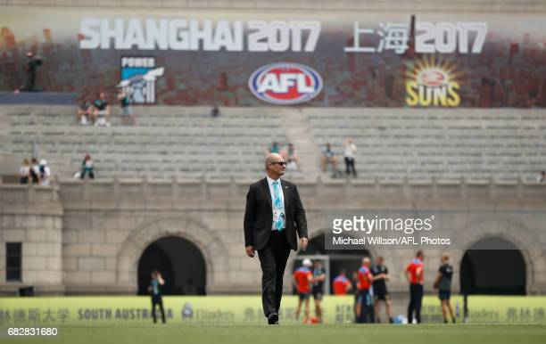 David Koch Chairman of the Power looks on during the 2017 AFL round 08 match between the Gold Coast Suns and Port Adelaide Power at Jiangwan Sports...