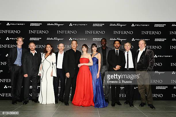 David Koepp Ben Foster Sidse Babett Knudsen Ron Howard Tom Hanks Felicity Jones Ana Ularu Omar Sy Irrfan Khan Dan Brown and Hans Zimmer walk the red...