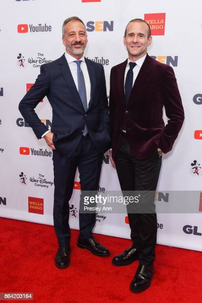 David Kohan and Max Mutchnick attend 2017 GLSEN Respect Awards Arrivals at the Beverly Wilshire Four Seasons Hotel on October 20 2017 in Beverly...