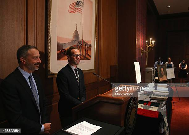 David Kohan and Max Mutchnick creators of Will and Grace television show attend an event to honor LGBT history at the Smithsonian's National Museum...