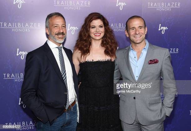 David Kohan Debra Messing and Max Mutchnick attend the Logo's 2017 Trailblazer Honors event at Cathedral of St John the Divine on June 22 2017 in New...