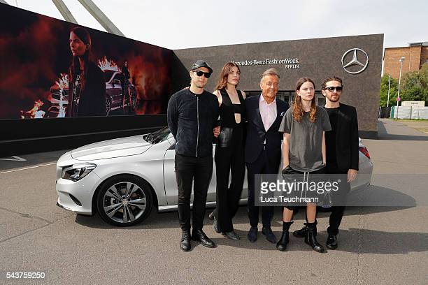 David Koma deisgner Lucie Von Alten Wolfgang Schattling Eliot Paulina Sumner and Swedish director Christian Larson attend the MercedesBenz Fashion...