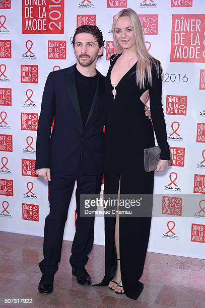 David Korma and Virginie CourtinClarins attend the Sidaction Gala Dinner 2016 as part of Paris Fashion Week on January 28 2016 in Paris France