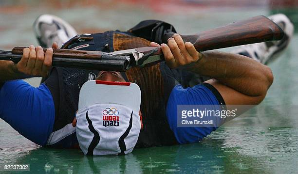 David Kostelecky of Czech Republic celebrates after winning the gold medal in the men's trap final shooting event held at the Beijing Shooting Range...