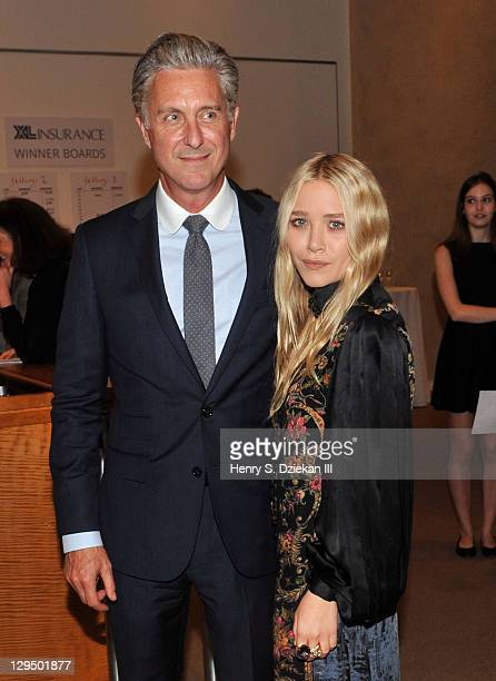 David Kratz and actress MaryKate Olsen attend The New York Academy of Art's 20th Annual Take Home a Nude benefit at Sotheby's on October 17 2011 in...