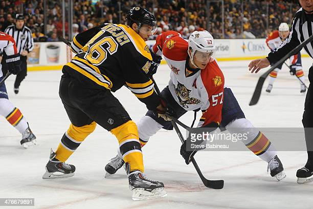 David Krecji of the Boston Bruins at a face off against Marcel Goc of the Florida Panthers at the TD Garden on March 4 2014 in Boston Massachusetts