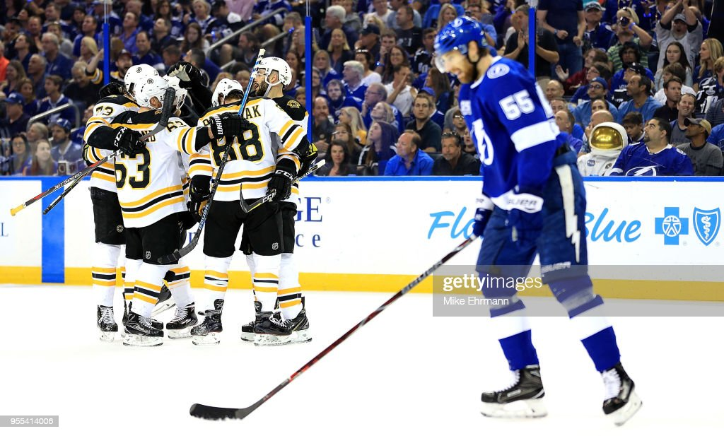 David Krejci #46 of the Boston Bruins celebrates a goal during Game Five of the Eastern Conference Second Round against the Tampa Bay Lightning during the 2018 NHL Stanley Cup Playoffs at Amalie Arena on May 6, 2018 in Tampa, Florida.