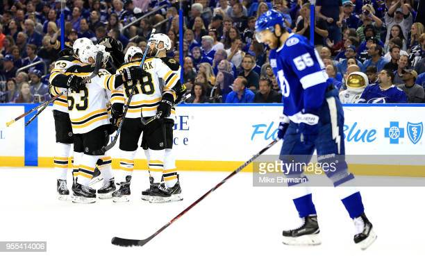 David Krejci of the Boston Bruins celebrates a goal during Game Five of the Eastern Conference Second Round against the Tampa Bay Lightning during...