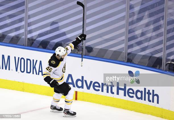 David Krejci of the Boston Bruins celebrates after scoring a goal against the Tampa Bay Lightning during the third period in Game Five of the Eastern...