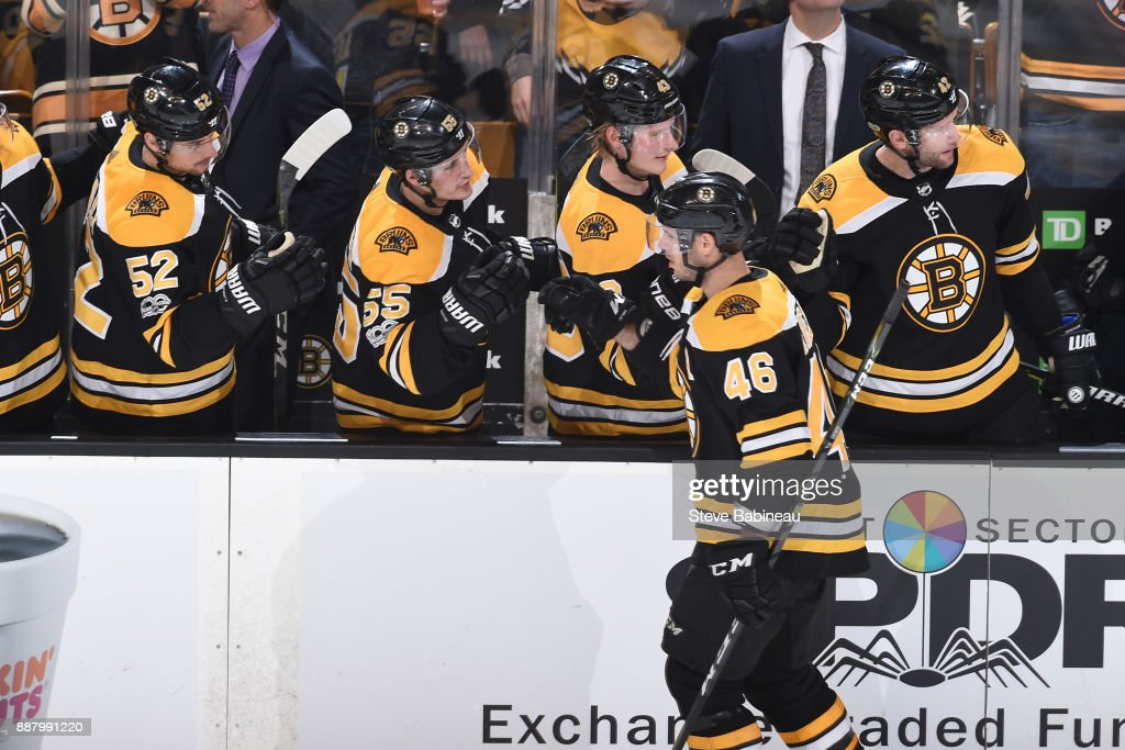 David Krejci #46 of the Boston Bruins celebrates his third period goal against the Arizona Coyotes at the TD Garden on December 7, 2017 in Boston, Massachusetts.
