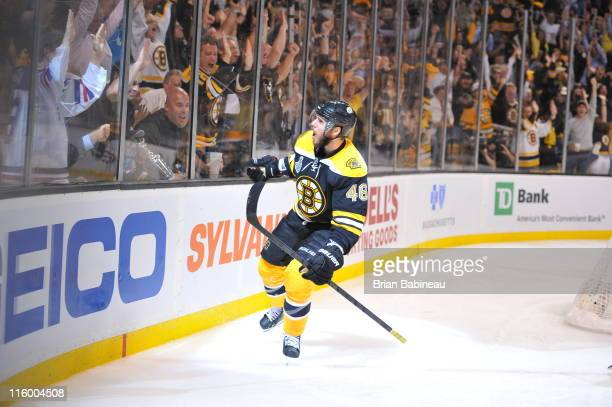 David Krejci of the Boston Bruins scores a goal against the Vancouver Canucks in Game Six of the 2011 NHL Stanley Cup Final at TD Garden on June 13...
