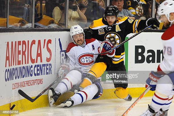 David Krejci of the Boston Bruins skates against Josh Gorges of the Montreal Canadiens in Game Five of the Second Round of the 2014 Stanley Cup...