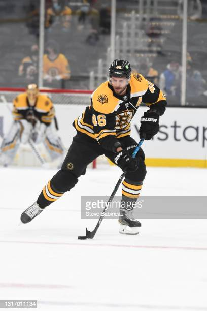 David Krejci of the Boston Bruins skates against the New York Rangers at the TD Garden on May 8, 2021 in Boston, Massachusetts.