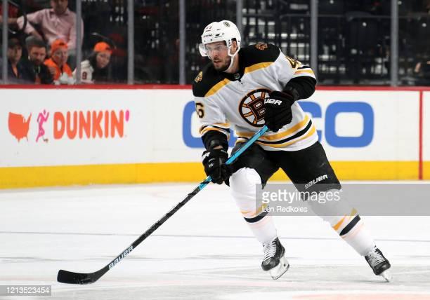 David Krejci of the Boston Bruins skates against the Philadelphia Flyers on March 10 2020 at the Wells Fargo Center in Philadelphia Pennsylvania