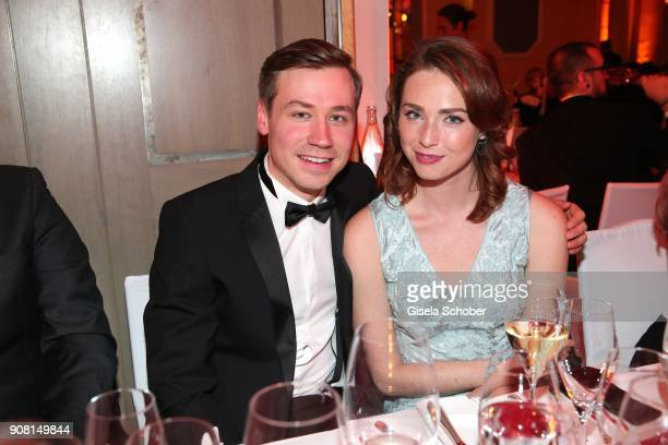David Kross and Freya Mavor during the German Film Ball 2018 party at Hotel Bayerischer Hof on January 20 2018 in Munich Germany