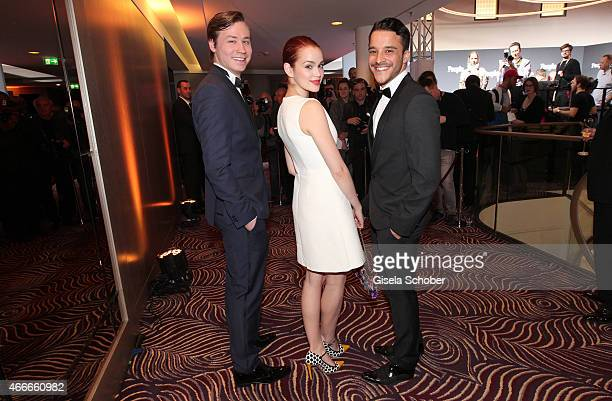 David Kross Emilia Schuele and Kostja Ullmann during the PEOPLE Magazine Germany launch party at Waldorf Astoria on March 17 2015 in Berlin Germany