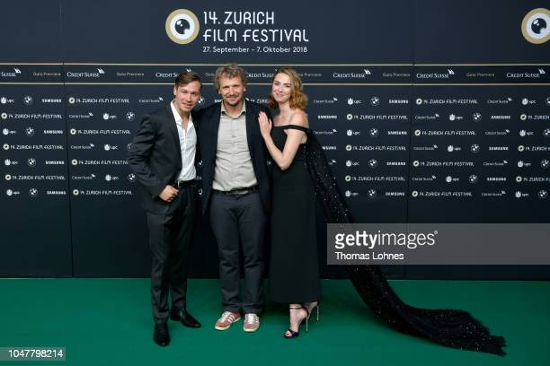 David Kross Marcus H Rosenmueller and Freya Mavor attend the 'Trautmann' premiere during the 14th Zurich Film Festival at Festival Centre on October...