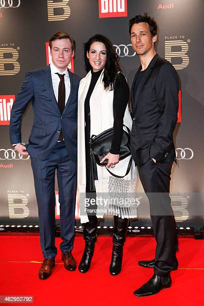 David Kross Minu Barati and Florian David Fitz attends the Bild 'Place to B' Party on February 07 2015 in Berlin Germany