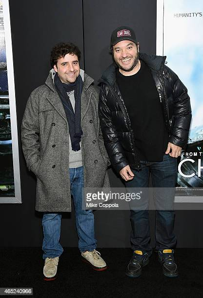 David Krumholtz and Gregg Bello attend the 'Chappie' New York Premiere at AMC Lincoln Square Theater on March 4 2015 in New York City