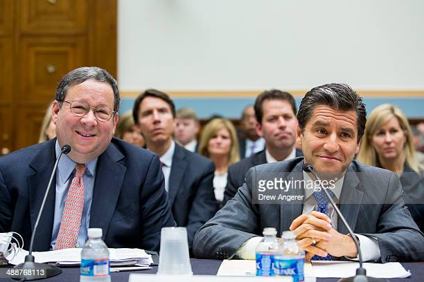 David L Cohen executive vice president of Comcast and Robert D Marcus chairman and CEO of Time Warner Cable testify during a House Judiciary...