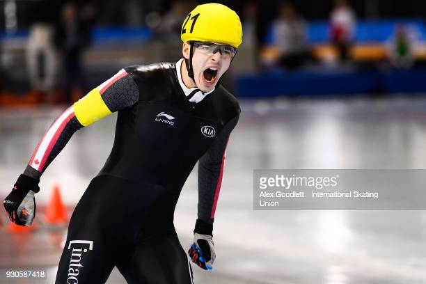 David la Rue of Canada celebrates after winning the men's mass start during the World Junior Speed Skating Championships at the Utah Olympic Oval on...