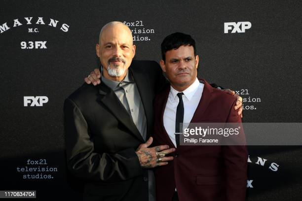 David Labrava and Elgin James attend the premiere of FX's Mayans MC Season 2 at ArcLight Cinerama Dome on August 27 2019 in Hollywood California