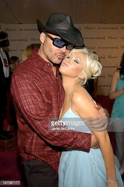 David LaChapelle and Christina Aguilera during 13th Annual Elton John AIDS Foundation Oscar Party Cohosted by Chopard Red Carpet at Pacific Design...