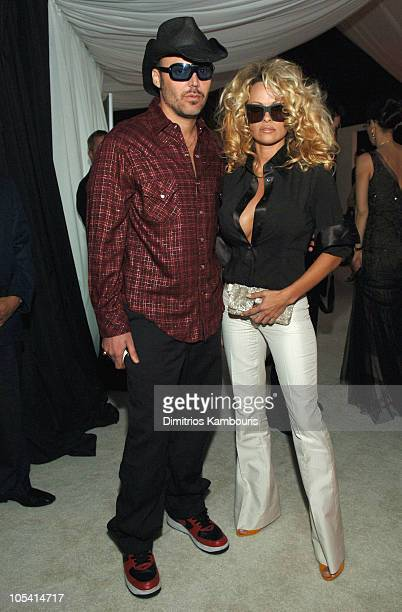 David LaChapelle and Pamela Anderson during 13th Annual Elton John AIDS Foundation Oscar Party Cohosted by Chopard Inside at Pacific Design Center in...