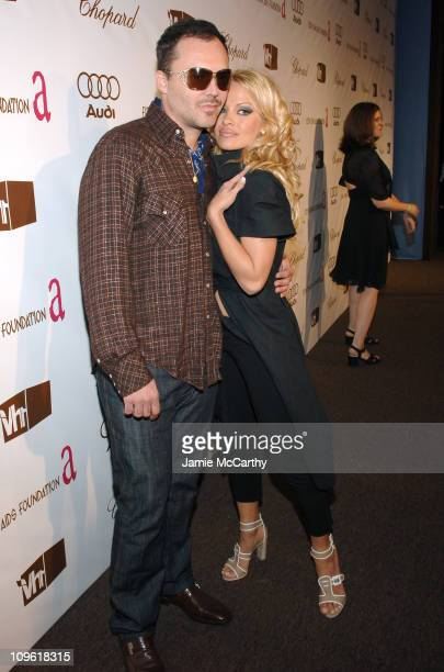 David LaChapelle and Pamela Anderson during 14th Annual Elton John AIDS Foundation Oscar Party Cohosted by Audi Chopard and VH1 Red Carpet at Pacific...