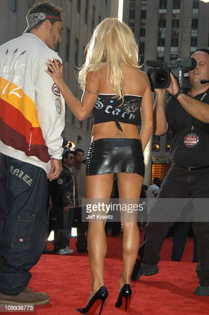 David Lachapelle and Pamela Anderson during 2003 MTV Video Music Awards Arrivals at Radio City Music Hall in New York City New York United States