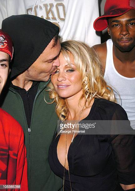 """David LaChapelle and Pamela Anderson during 2005 Sundance Film Festival - """"Rize"""" After Party at The Gateway Center in Park City, Utah, United States."""