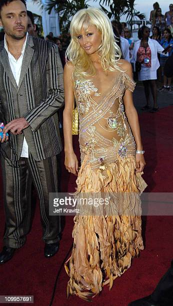David LaChapelle and Paris Hilton during 2004 MTV Video Music Awards Red Carpet at American Airlines Arena in Miami Florida United States
