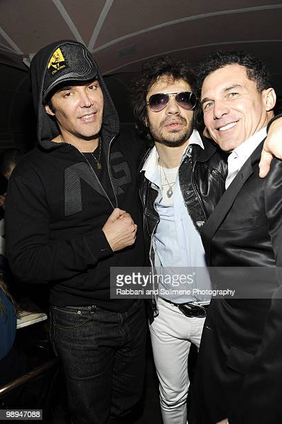 David LaChapelle Olivier Zahm and Andre Balazs attends The PURPLE Fashion Magazine Dinner during MercedesBenz Fashion Week at Kenmare on February 14...